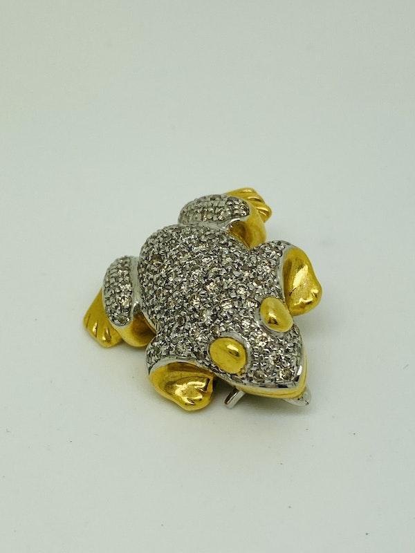 18K white/yellow gold Diamond Brooch - image 2