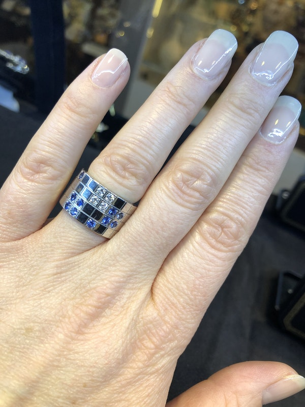 Cartier Lanieres 0.40ct Diamond and 1.10ct Natural Blue Sapphire Ring - image 1
