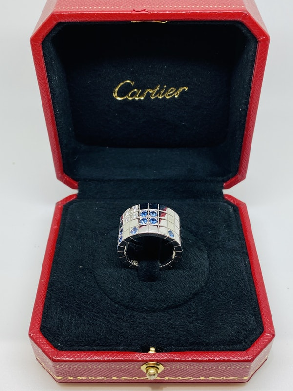 Cartier Lanieres 0.40ct Diamond and 1.10ct Natural Blue Sapphire Ring - image 2