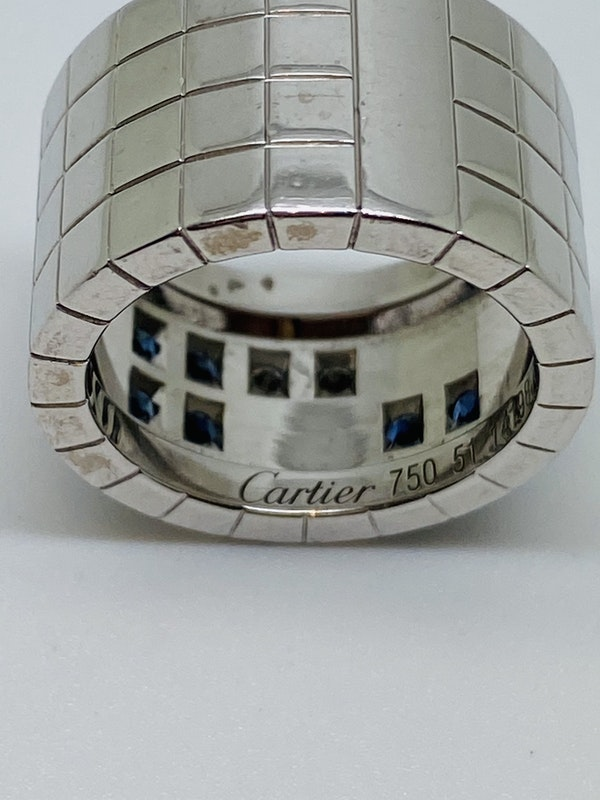 Cartier Lanieres 0.40ct Diamond and 1.10ct Natural Blue Sapphire Ring - image 4