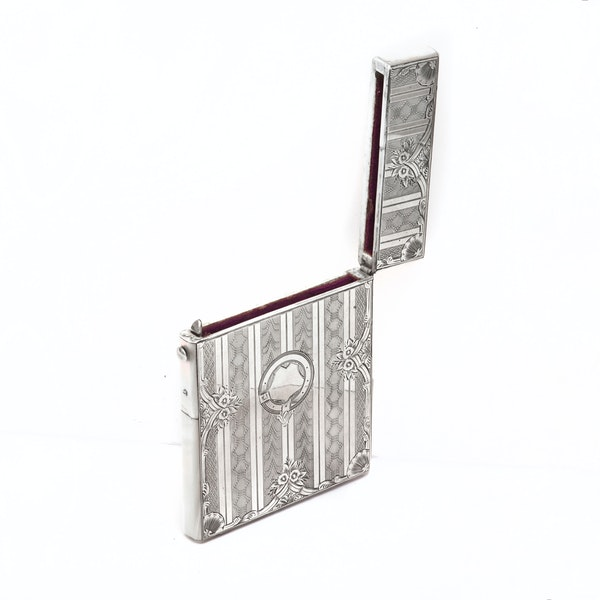 A silver & mother of pearl card case - image 5