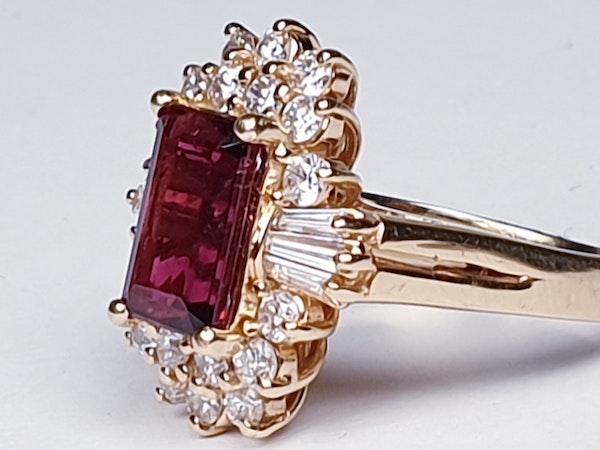 Rubalite and Diamond Cluster Ring  DBGEMS - image 2
