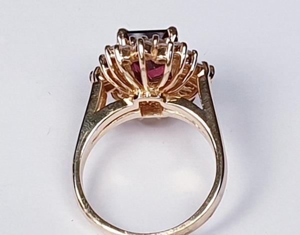 Rubalite and Diamond Cluster Ring  DBGEMS - image 3