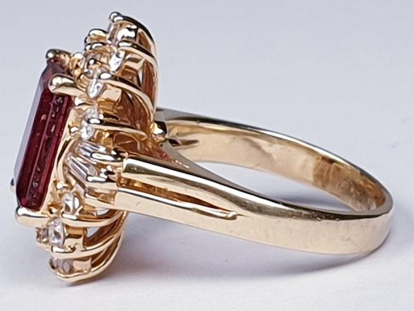 Rubalite and Diamond Cluster Ring  DBGEMS - image 4