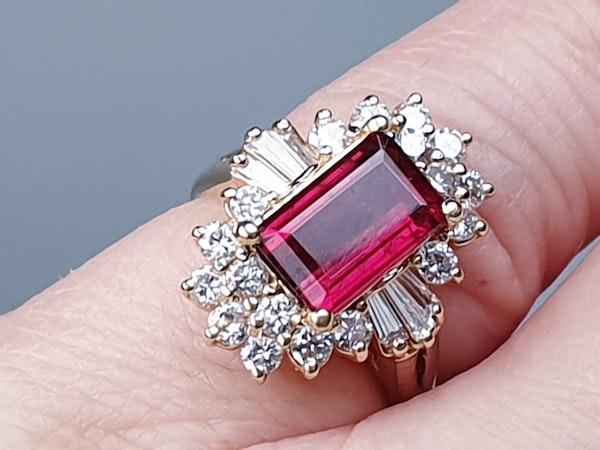 Rubalite and Diamond Cluster Ring  DBGEMS - image 5