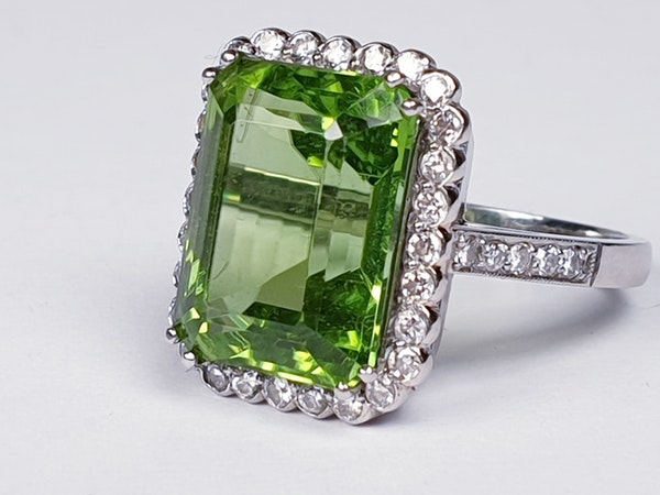 Peridot and Diamond Cluster Ring  DBGEMS - image 5