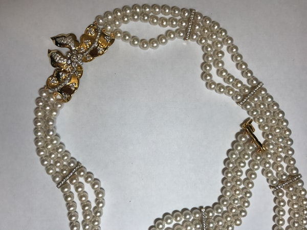 18K yellow gold Diamond and Cultured Pearl Necklace - image 3