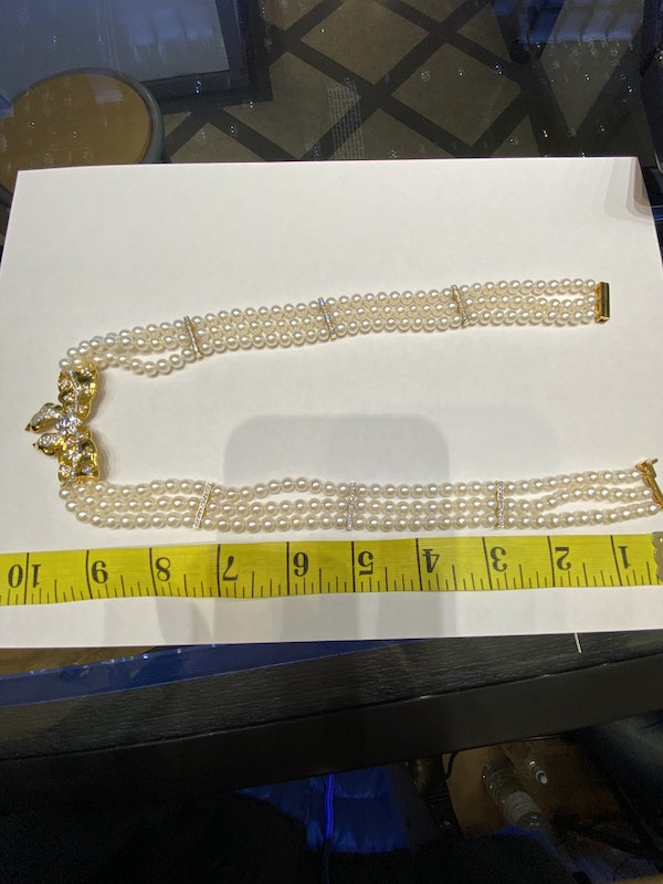 18K yellow gold Diamond and Cultured Pearl Necklace - image 4