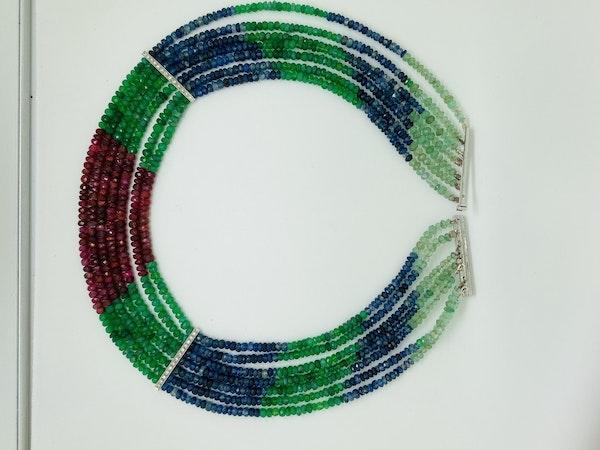 18K white gold Diamond and Multi-coloured gems Necklace - image 2