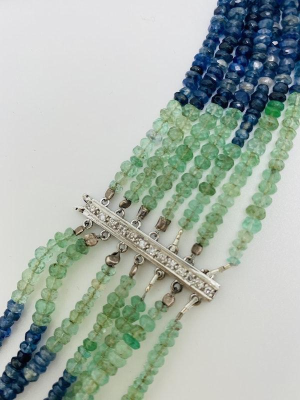 18K white gold Diamond and Multi-coloured gems Necklace - image 5