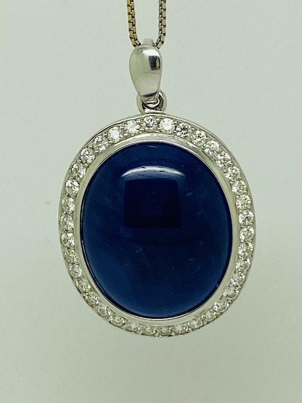 18K white gold 41.00ct Natural Cabochon Blue Sapphire and 2.05ct Diamond Pendant - image 2