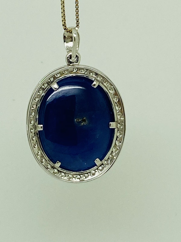 18K white gold 41.00ct Natural Cabochon Blue Sapphire and 2.05ct Diamond Pendant - image 4