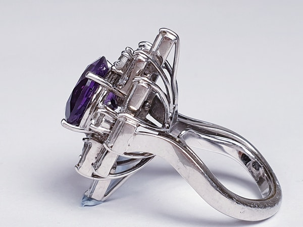 Amethyst and baguette diamond dress ring  DBGEMS - image 4