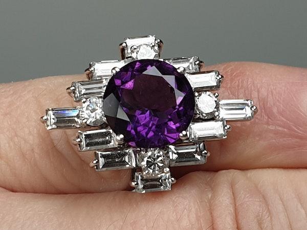 Amethyst and baguette diamond dress ring  DBGEMS - image 2