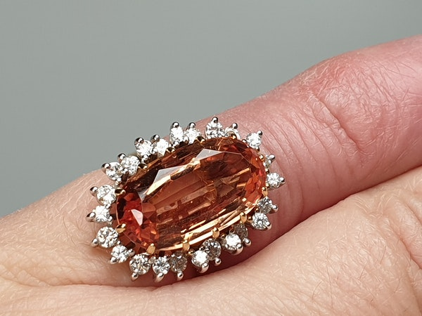 Imperial golden topaz and diamond cluster ring  DBGEMS - image 3