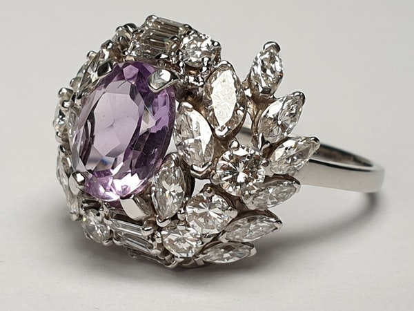 Cool Amethyst and Diamond Cluster Ring DBGEMS - image 2