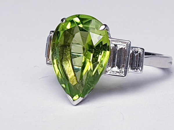 Peridot and Baguette Diamond Ring  DBGEMS - image 4