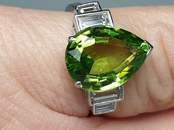 Peridot and Baguette Diamond Ring  DBGEMS - image 2