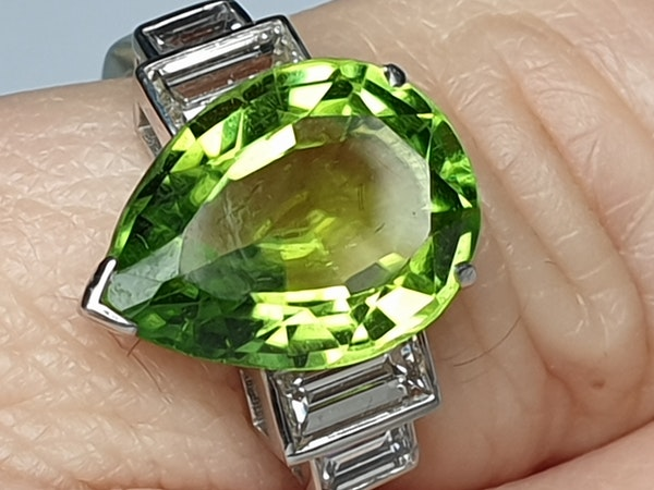 Peridot and Baguette Diamond Ring  DBGEMS - image 3