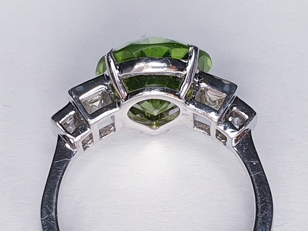 Peridot and Baguette Diamond Ring  DBGEMS - image 5