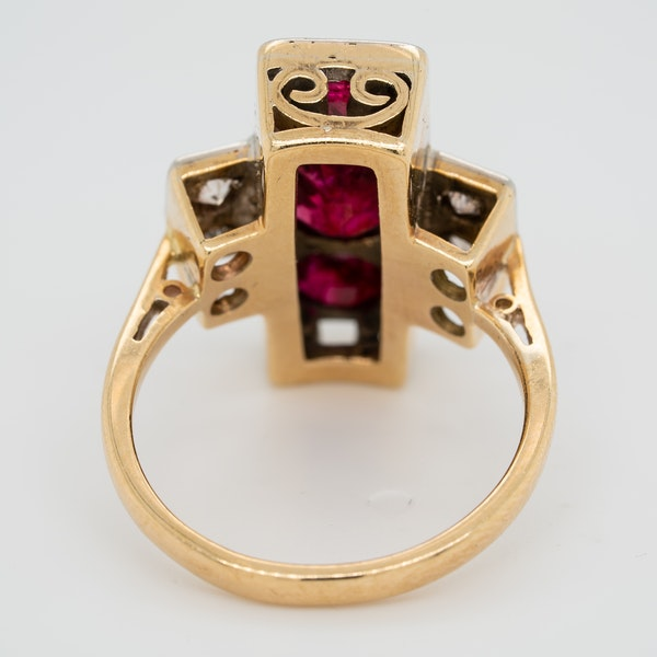 3 Rubies and diamonds tablet shape  ring - image 4