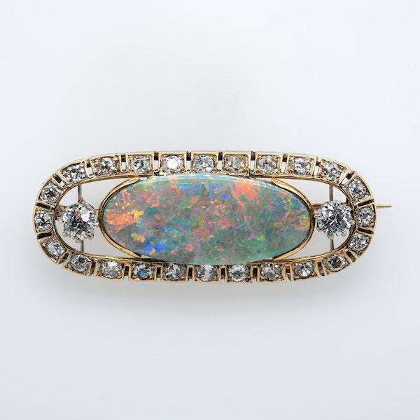 Opal and diamond  Art Deco brooch - image 1