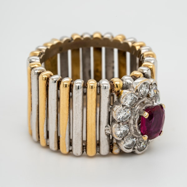 2 colour gold ruby and diamond cluster ring - image 2