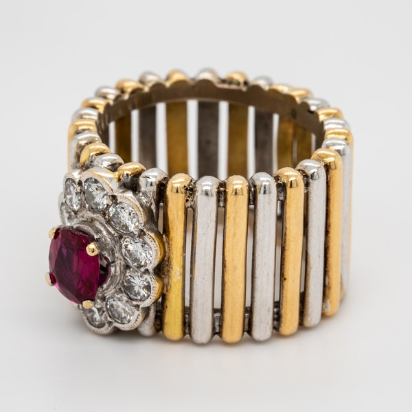 2 colour gold ruby and diamond cluster ring - image 3