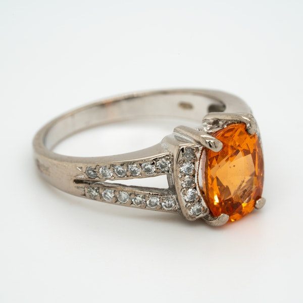 Fire opal and diamond cluster ring - image 2