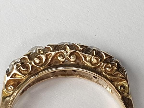 Antique 5 stone carved half hoop diamond ring  DBGEMS - image 4