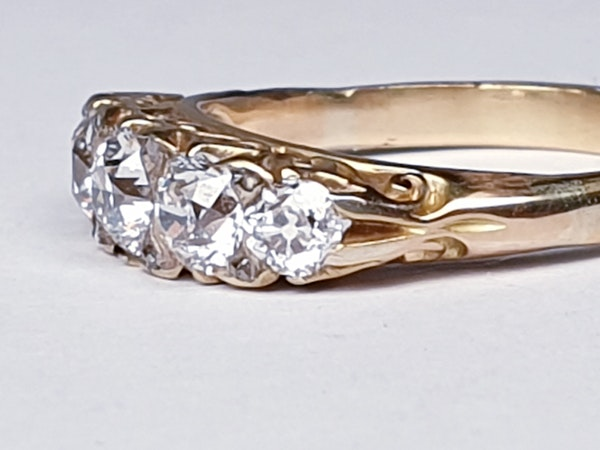 Antique 5 stone carved half hoop diamond ring  DBGEMS - image 2