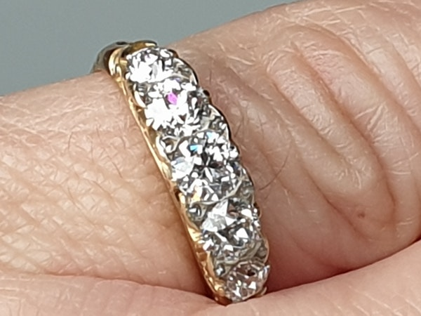 Antique 5 stone carved half hoop diamond ring  DBGEMS - image 3