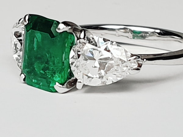 Emerald and pear shaped diamond engagement ring  DBGEMS - image 2
