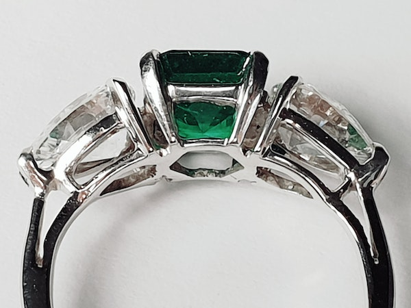 Emerald and pear shaped diamond engagement ring  DBGEMS - image 4