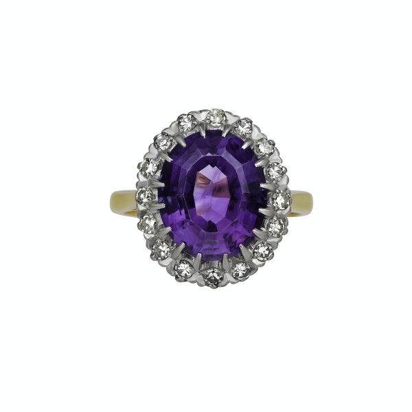Amethyst and diamond ring - image 2