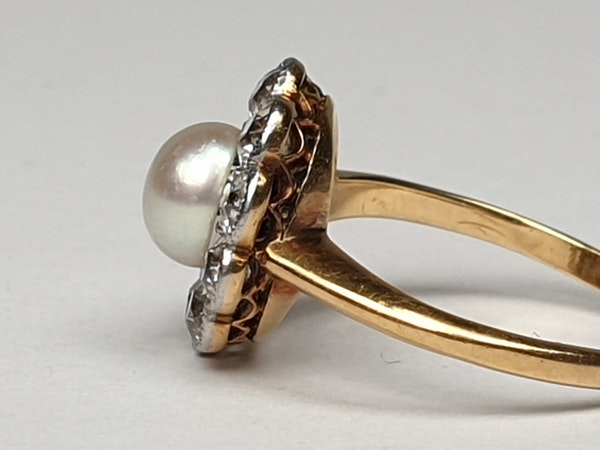 Edwardian Natural Pearl and Diamond Cluster Ring  DBGEMS - image 3