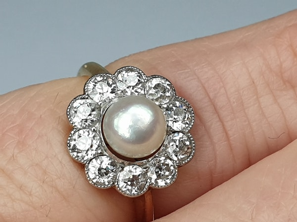 Edwardian Natural Pearl and Diamond Cluster Ring  DBGEMS - image 5