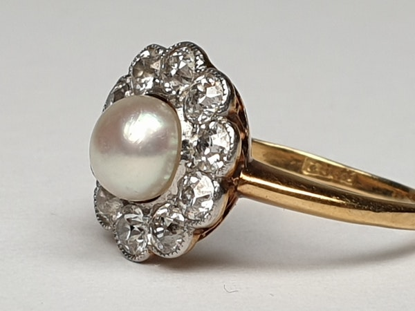 Edwardian Natural Pearl and Diamond Cluster Ring  DBGEMS - image 4