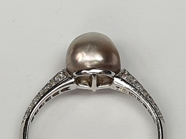 Art Deco Natural Pearl and Diamond Ring  DBGEMS - image 3