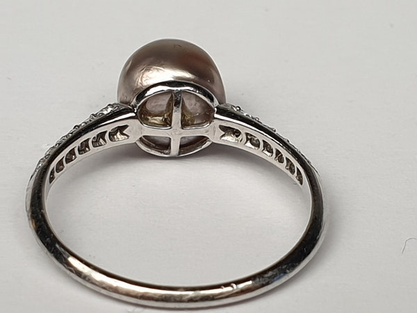 Art Deco Natural Pearl and Diamond Ring  DBGEMS - image 4