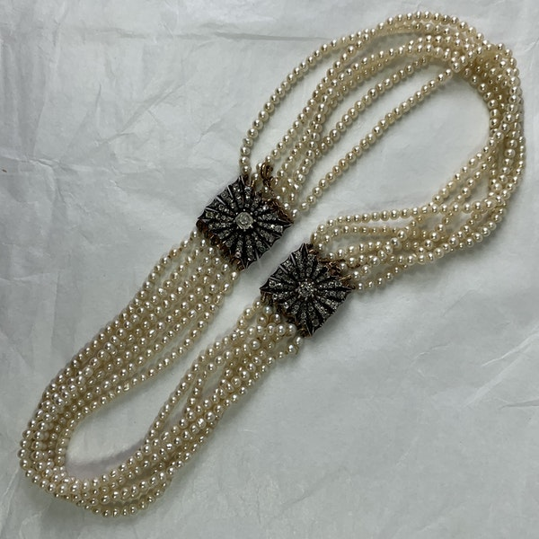 Natural pearl necklace with diamond clasps - image 4