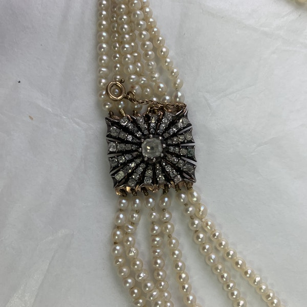 Natural pearl necklace with diamond clasps - image 5
