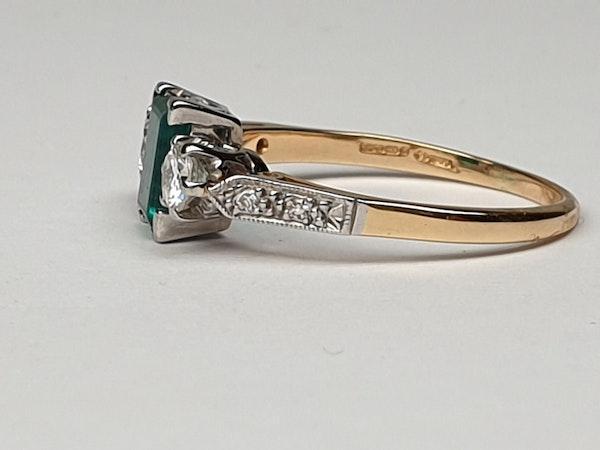 Emerald and Diamond Engagement Ring  DBGEMS - image 4