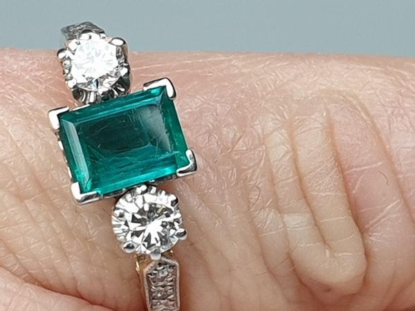 Emerald and Diamond Engagement Ring  DBGEMS - image 6