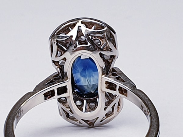 Antique French Art Deco Sapphire and diamond Panel Ring  DBGEMS - image 3
