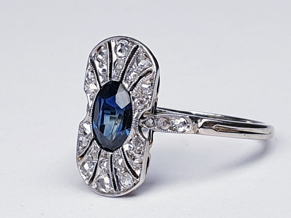 Antique French Art Deco Sapphire and diamond Panel Ring  DBGEMS - image 5