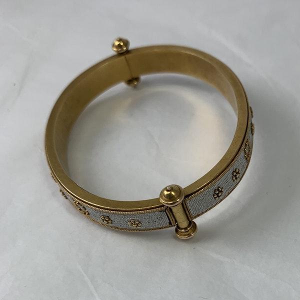 Gold and micro mosaic bangle - image 2