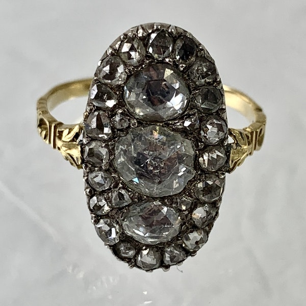 Ca 1800 gold and silver ring with diamonds - image 2