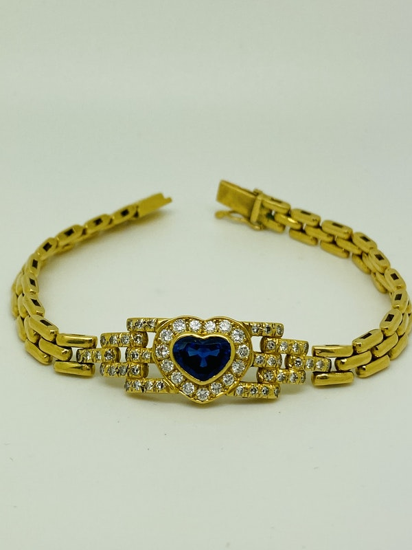 18K yellow gold 2.00ct Natural Blue Sapphire and 1.00ct Diamond Bracelet - image 1