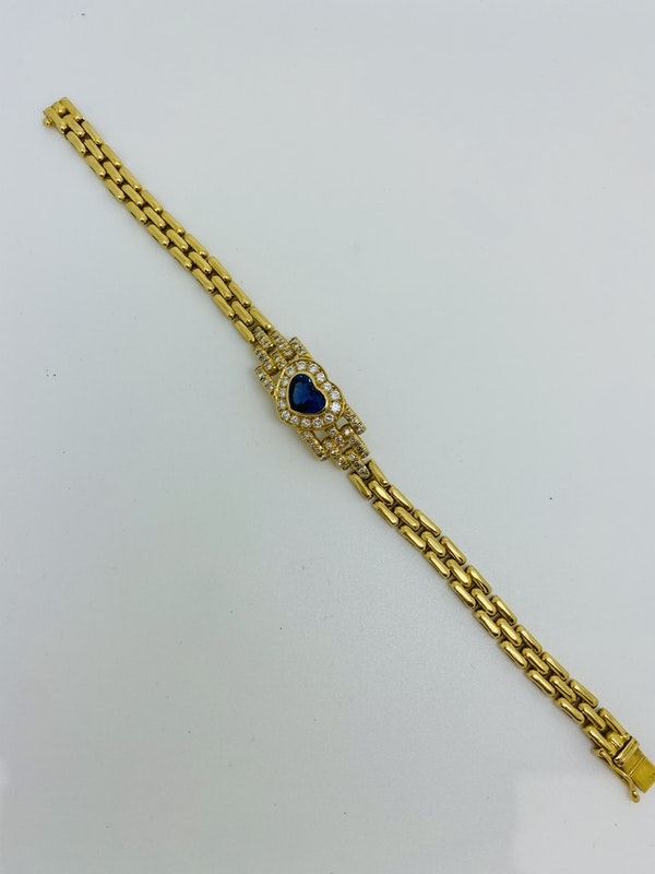 18K yellow gold 2.00ct Natural Blue Sapphire and 1.00ct Diamond Bracelet - image 2